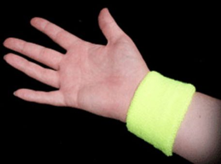 Neon Sweatbands - Yellow (Image on Wrist)