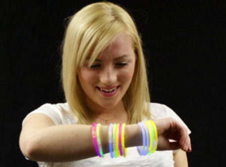 Glow Bracelets - Assorted Colours (Image On Wrist)