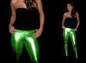Green Wetlook Leggings
