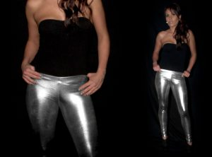 Silver Wetlook Metallic Leggings