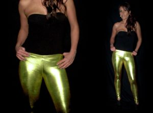 Green Metallic Leggings