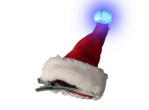 Santa Hat Hair Clip With Flashing Bobble