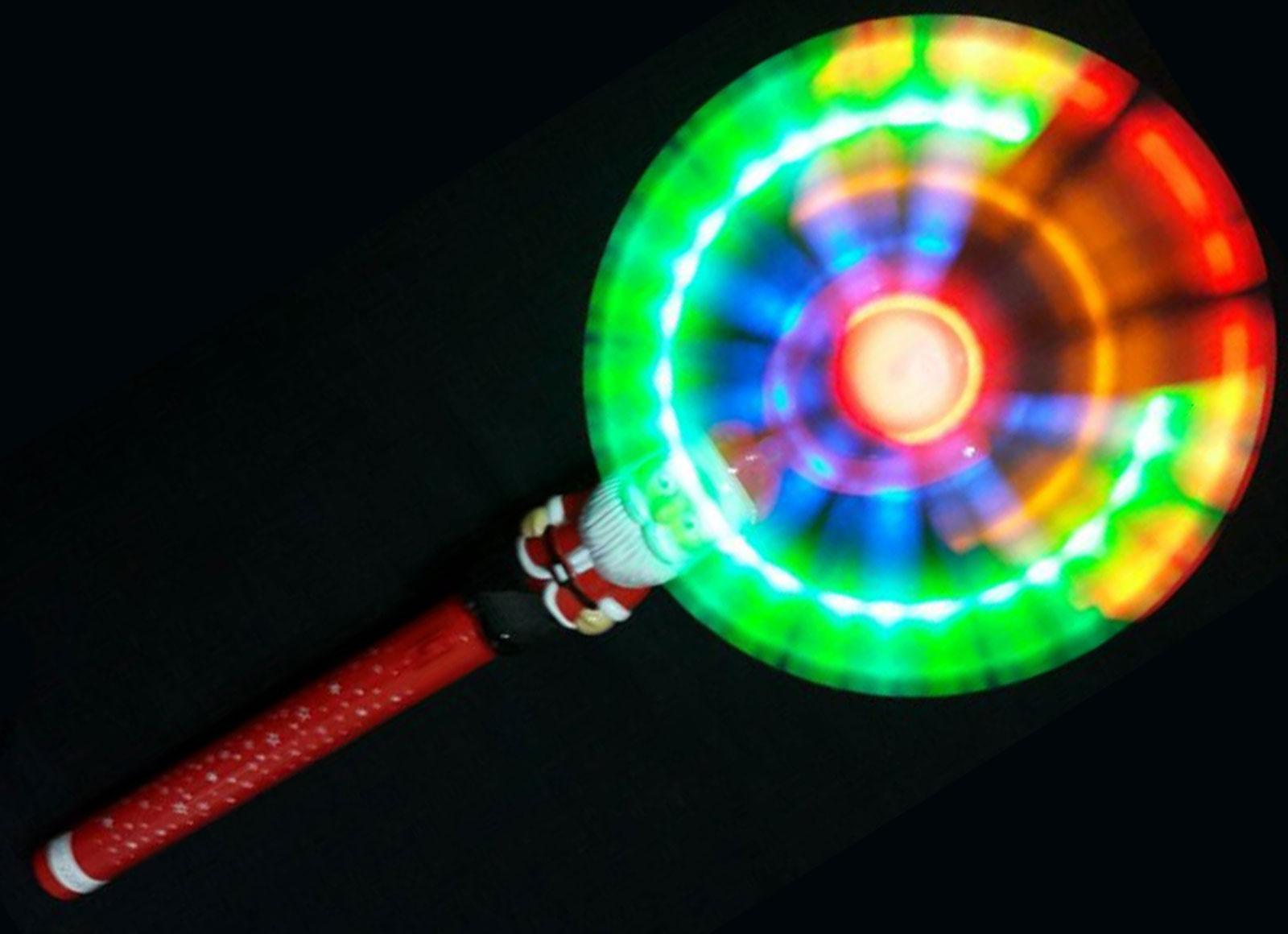 Santa swivel fan wand christmas light up wands fans for Light up wand